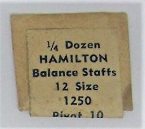 NOS 1/4 Dozen (3 Pcs) of HAMILTON Balance Staffs 12 size 1250 Pivot 10