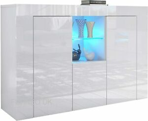 White High Gloss Cabinet Cupboard Sideboard In Matt White With Blue LED Light