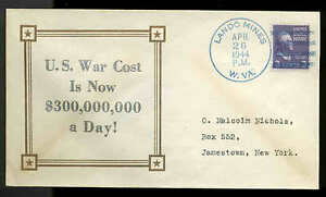 WWII PATRIOTIC -WAR COST $300,000,000 A DAY 4/26/44 LINTO SHERMAN #8555