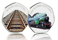 THE FLYING SCOTSMAN Full Colour Silver Commemorative Iconic Steam Railway Engine