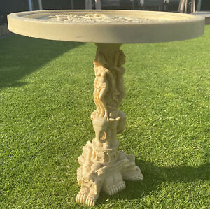 Antique 1920s Oriental Japanese Chinese occasional side table faux ivory stone