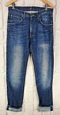 Lee Cash Jeans Indigo Blue Straight Leg Slim Zip Fly W31 L34 Great Condition 101
