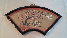 Oriental Chinese Hand Carved, Flowers Tree and Birds Shadow Box Wall Hanging