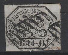 FRANCOBOLLI - 1852 STATO PONTIFICIO 6 BAJ USATO Z/8580