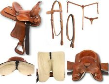 "D.A. Brand 10"" Hard Seat Tooled Pony Saddle Set Bridle Breast Collar Horse Tack"