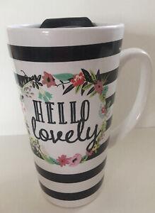 Hello Lovely Double Wall Ceramic Coffee Travel Mug Floral Black White Stripe