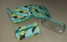 Set of 3 Multicoloured Teal Green Blue Yellow Black Travel Vanity Cases