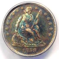 1858 PROOF Seated Liberty Half Dime H10C Coin - ANACS PR62 (PF62) - Rainbow Tone