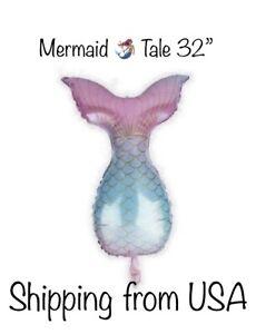 """Jumbo  Mermaid Tale Balloon 32""""Ombre. Birthday Balloons Under The Sea Party"""