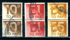 Postage Dues vertical pairs SG D95, D99 & D101 Used