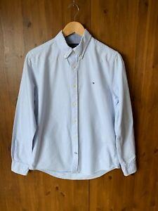 TOMMY HILFIGER MENS OXFORD SHIRT Blue Striped Long Sleeve Custom Fit SMALL - VGC