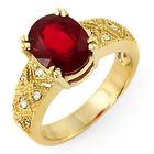 Vintage 3.7 ct natural ruby & diamond ring 14k gold