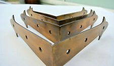 4 large corners strap solid Brass antiques vintage style BOX edge tables 150mm