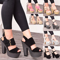 Ladies Womens High Block Chunky Heel Buckle Strap Party Sandal Shoes Size 3-8