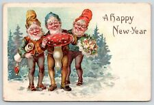New Year Fantasy~Gnomes Bearing Gifts~Red White Mushroom~Flower Nosegay~1907 PC