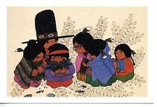 American Indian Family-Blankets-Colorful Primitive Artwork-1985 Postcard