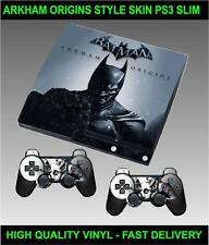 PLAYSTATION 3 SLIM CONSOLE STICKER BATMAN ARKHAM ORIGINS SKIN & 2 PAD SKINS
