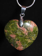 Unakite heart necklace snake chain natural stone pendant  love sexy green pink