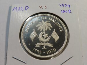 R3 Maldives 1979 Silver 100 Rufiyaa Proof
