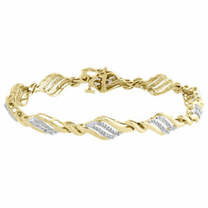 """10K Yellow Gold Diamond Pointed Oval Leaf Tennis Link Bracelet 7.25"""" 0.50 Ct"""