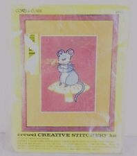 Vtg Mouse on Mushroom Crewel Kit Coats and Clark Creative Stitchery  5840