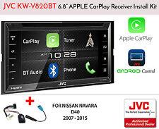 JVC KW-V820BT Apple CarPlay Google GPS Nissan Navara D40 07-15 Installation Kit
