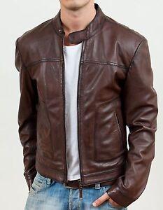 Men's Biker Motorcycle Brown Real Leather Jacket - BNWT