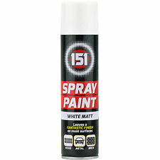 2 x 250ml 151 Bianco Opaco Spray Vernice Macchine Legno Metallo Muri Graffiti