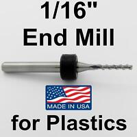 """1/16"""" End Mill for ABS, Plastic, Acrylic, Plexiglass < Made in USA> CNC 063pc"""