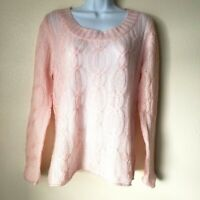 Blush Pink Women M Open Weave Sweater Cable Knit Fuzzy Soft Westbound Mohair