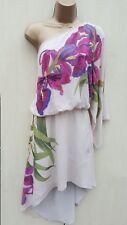 Size UK 12 KAREN MILLEN Silk One Shoulder Art Deco Beaded Floral Print Dress