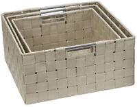 Sorbus Double Woven Basket Storage Bin 3 Piece Set With Built-In Handles Beige