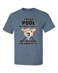 Funny Billiards I Play Pool Adult Men's Short Sleeve Tee Shirt Heather Indigo