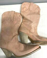 Gustine Damas Botas De Vaquero Tamaño 6.5/7 (EUR 40) pre propiedad de piel rosa pálido