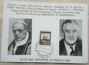 VATICAN 1940 SOUVENIR CARD FOR PRESIDENT ROOSEVELT APPOINTING REPRESENTATIVE