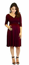 Purple 3/4 Sleeve Long Past Knee Solid Dress Maternity Wedding Womens Multi Colo