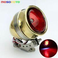 Motorcycle Brass LED Tail Light Lamp Brake Lights For Cafe Racer Chopper Bobber