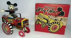 """SCARCE """"OLD STORE"""" M.I.B. SET:DISNEY 1953 MICKEY MOUSE """"DIPSY CAR"""" WIND-UP TOY"""