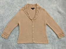 August Silk Size LARGE Loose Knit Button Collared Cardigan Long Sleeve Peach EUC