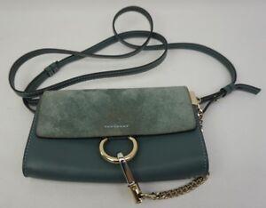 Chloe Mini Faye Suede & Leather Wallet on a Chain Cloudy Blue Crossbody Bag