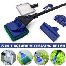 5 in 1 Aquarium Algen Zubehör Kescher Scheibenreiniger Reinigungsset Neu DE