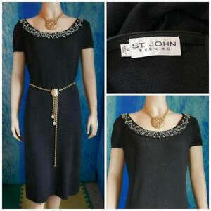 St John Evening Black Dress L 12 14 Sheath Short Sleeve Sequined Cream Beads