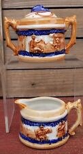 Vintage Collectible Pioneer Mdse Co. Small Ceramic Sugar Bowl W/Lid And Creamer