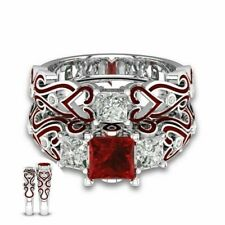 Steel Red Cz Couple Engagement Wedding Band Rings Set His Hers Lover Stainless