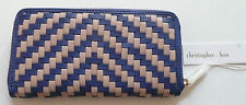 Christopher Kon Allison Zip Wallet Cobalt Blue Biscotto Woven Leather NWT