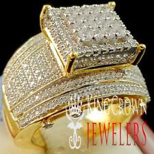 10K Real Yellow Gold Silver Ladies Big Bold Wedding Engagement Bridal Ring Band