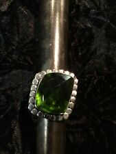 Size 8 1/4 Emerald Green Color Glass Ring - Silver Plated - Handmade NEW