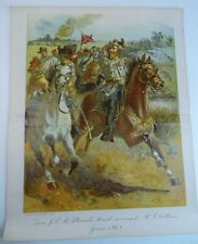 RARE Antique Litho Print - JEB Stuart's Raid Confederate 1862 Civil War 1900