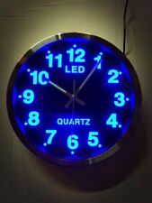 Gorgeous Blue Led Clock Analogue round Wall Quartz Watch Design