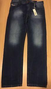 Diesel Mens Distressed Blue Krayver 0838C Regular Slim-Carrot Jeans W32 L32 BNWT